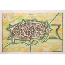 1650 antique City view Duisburg Germany by Merian,