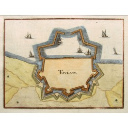 1661 antique City view Toulon France by Merian