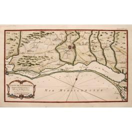 1752 Languedoc Coast, Montpellier France antique map Bellin