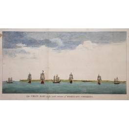 1745 print Sailing ships Virgin Mary Anson voyages