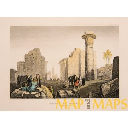 THEBES EGYPT OLD ANTIQUE PRINT C.1838