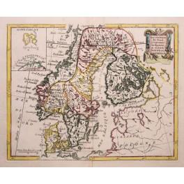 Original antike Landkarte von Skandinavien, Spitzbergen von De La Porte 1786