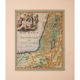 1697 Antique map Holy Israel, Egypt,by Phillip Cluverius