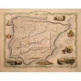 1851 Spain Portugal antique map by J. Rapkin. España