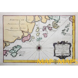 ANTIQUE MAP CHINA PEARL RIVER DELTA CANTON OLD ENGRAVING BELLIN 1750