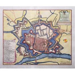 1740 Antique plan of Zutphen Holland by H. de Leth