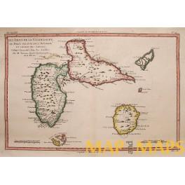 Antilles Islands antique map Bonne 1771