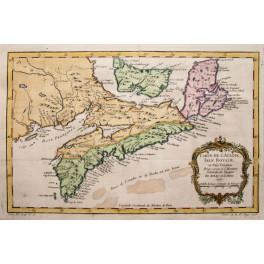 1757 antique map Bellin/Canada/New England/Acadia/Quebec