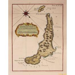 1764 antique Maritime map Juan Fernandes Island Chile by Bellin