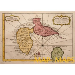 Guadeloupe Santa Maria Columbus journey Antique map by Bellin 1758