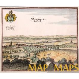 Remlingen Niedersachsen Germany engraving 1656 MERIAN