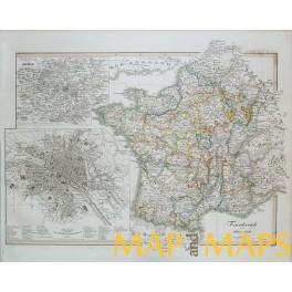 FRANCE inset old TOWN PLAN PARIS ORIGINAL ANTIQUE MAP KARL SPRUNER 1846