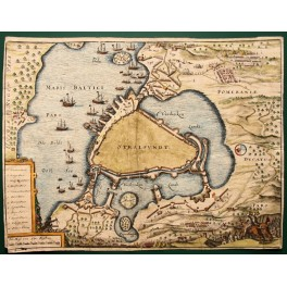 1680 antique engraving Stralsund Szczecin Germany Denmark