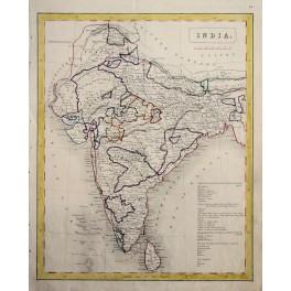 India, Ceylon, Maharashtra, Colonial antique map 1860.