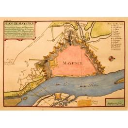 Antike Karte / Plan von Mainz Deutschland, de Fer 1694.