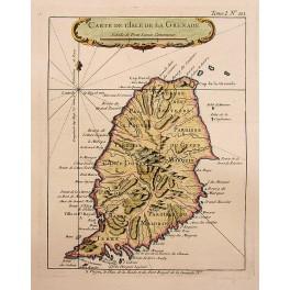 1764 antiquemap Maritime map Grenada Island Bellin