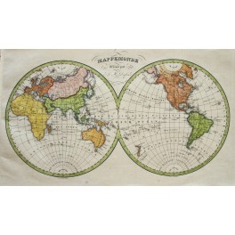 Word map MAPPEMONDE atlas map by Dufour c 1800