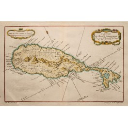 St. Christophe Islands, St. Kitts, CARIBIAN, 1748 ANTIQUE MAP by BELLIN