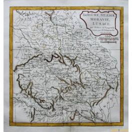 Bohemia Austria Hungary Silesia and Moravia antique map by Vaugondy 1800