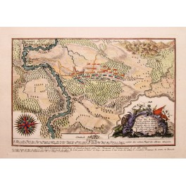Antique Battle Plan Lutterberg / Landwerhagen von de Fer 1758