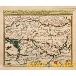 Hollande, Utrecht, Bommelerwaart fine map Vaugondy 1748