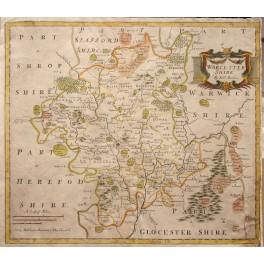 1695 WORCESTERSHIRE antique map Robert Morden