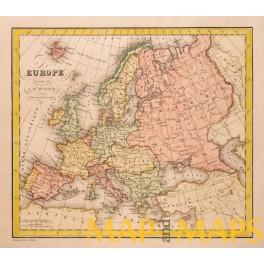 Europe Turkey Balkan history, Poland Dufour map c1830