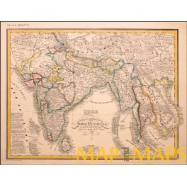 India Southeast Asia Thailand Sri Lanka Colonial detailed antique map by Heck 1842