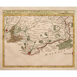 Northern France, Lille, 1748 antique map Vaugondy