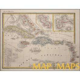 Antilles Islands Cuba Jamaica Bahamas Haiti original old map Heck 1842