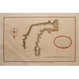 Cook voyages, antique map Alaska by Bowen 1790