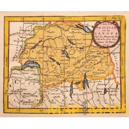 1714 antique Germany Swiss, Switzerland, map by Buffier