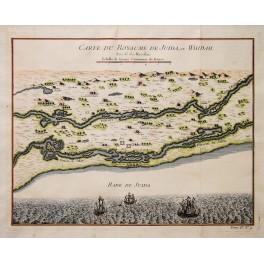 Whidah, Togo Africa Antique map Bellin 1747