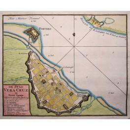 Mexico, New Spain, Port Vera Cruz, engraving Tiron 1784