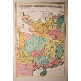 China, Chinese walls antique map by Bonne 1786
