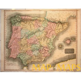 Spain Portugal Large antique map by Menzies 1810
