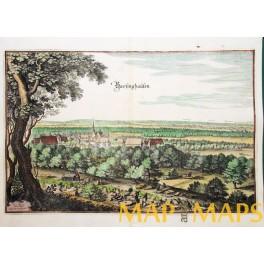 1654 antique engraving, Barsinghausen, Germany Merian