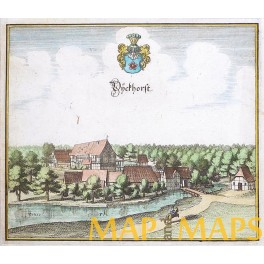 Dieckhorst bei Müden/Gifhorn Germany Original copper en-graving by Merian1654