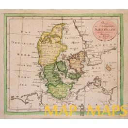 Denmark antique map antik kort John Watch c1800