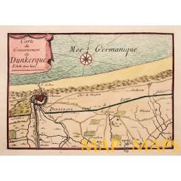 Plan Dunkerque Dunkirk Duinkerken France old map by Beaulieu 1688