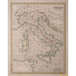 Italy Ancienne Old Map of Sicily Corsica, Monin Fleming 1838