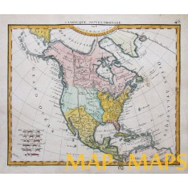 1824 antique map America Canada Mexico by Herisson