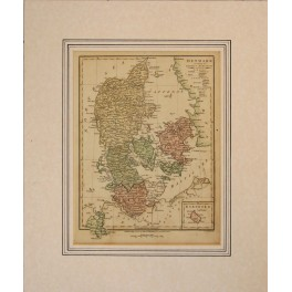Denmark with a inlay of Bornholm antique map by Wilkinson 1808