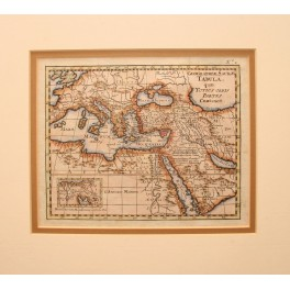 Mediterranean Early Israel antique map by P vd AA 1775