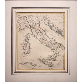 Italy Sicilia Sardinia antique map by Becker 1830
