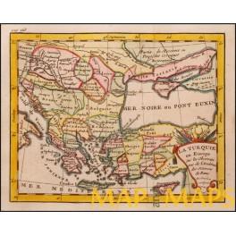 Laturchia Turkey in Europe antique map by Buffier 1767