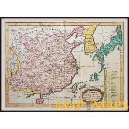 ANTIQUE MAP L'EMPIRE DE LA CHINA, FORMOSA KOREA JAPAN BY LA PORTE/LATTRE 1783