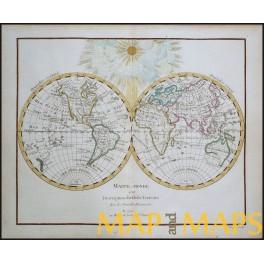 Mappe-Monde ou Description du Globe-Terrestre antique map Delamarche 1783