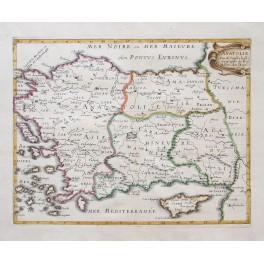 Turkey Cyprus antique map by Sanson 1660