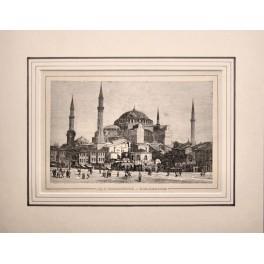 Sainte-Sophie, Hagia Sophia Constantinople, print 1880